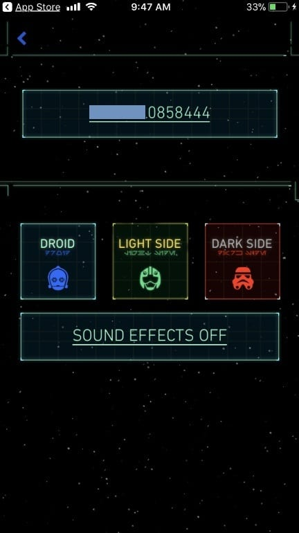 Choose Star Wars App theme on iPhone App