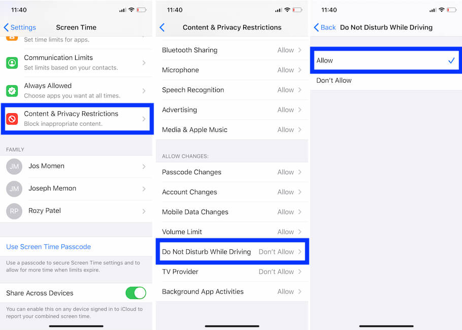 Disable Do Not Disturb Screen time restriction on iPhone