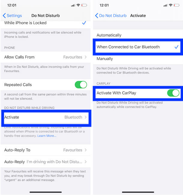 Do Not Disturb on iPhone Activate with Carplay