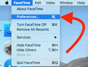 FaceTime Preferences Option on Mac