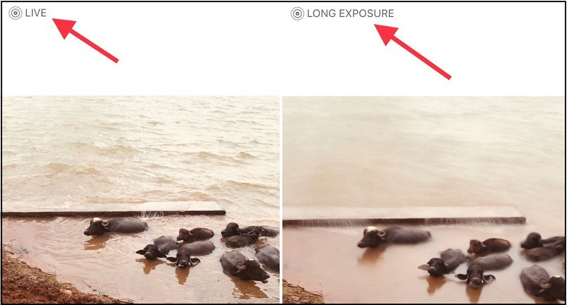How to turn or convert live photos into Long Exposure on iPhone 7 Plus running iOS 11