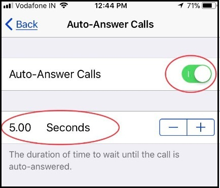 Set timer for 5 seconds to Auto-Answer Calls in iOS 11 on your iPhone