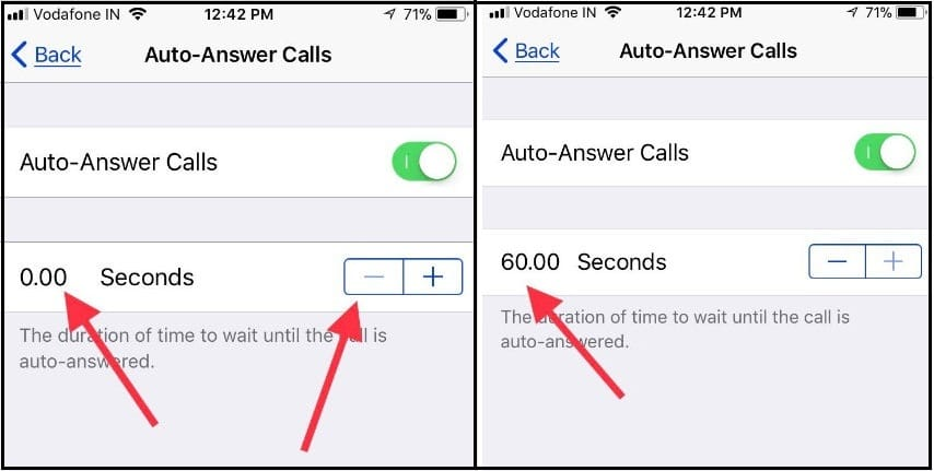 Set zero Seconds to Auto-Answer Calls without tap on call receive button on your iPhone