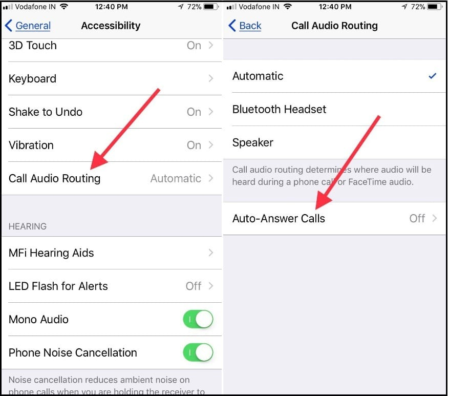 Tap Call Audio Routing then tap Auto-Answer Calls in iOS 11 iPhone