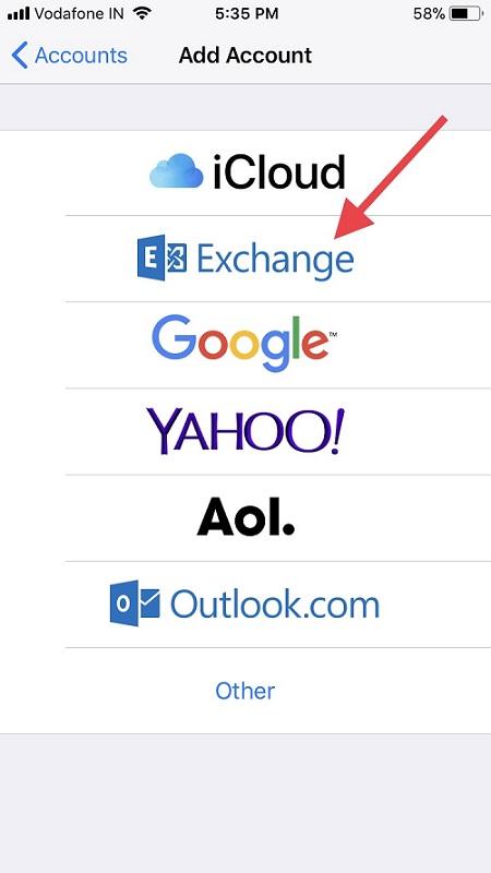 Tap on Exchange to setup on iPhone iPad