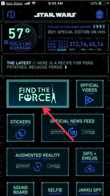 Tap on Find the Force Star Wars on your iPhone