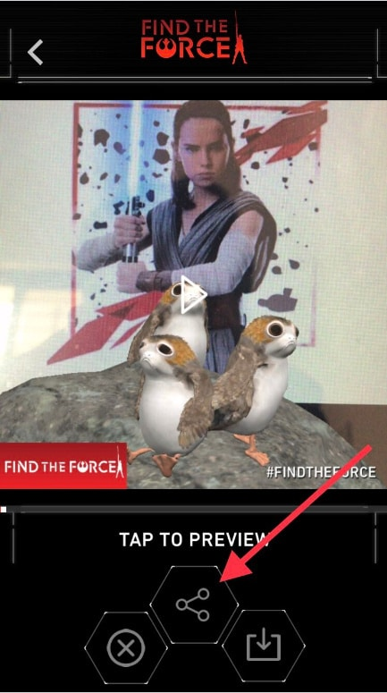 Tap on Share button to share to your star wars app on iPhone to friends