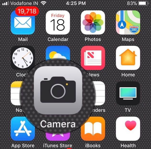 open the Camera App on iPhone iOS