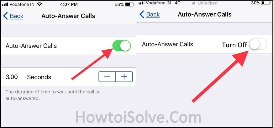stop disable auto-answer phone calls iOS 11 on iPhone iPad