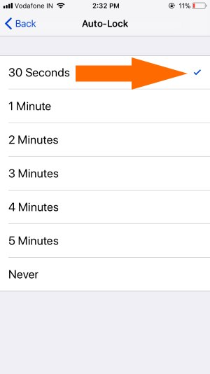 1 Auto lock time interval on iPhone
