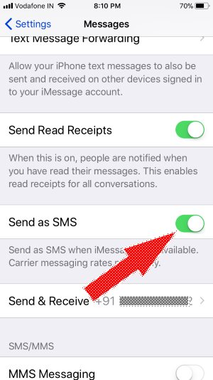 10 Send As SMS in iMessage iPhone Message app