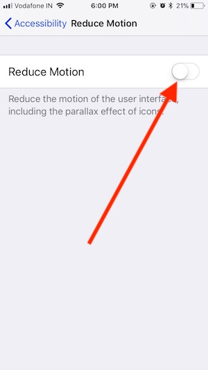 11 Reduce Motion on iPhone