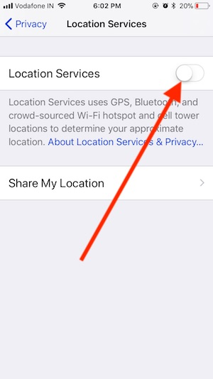 12 Disable Location service on iPhone