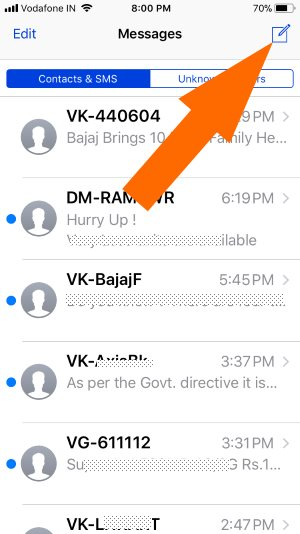 2 Start a New Message on iPhone Message app