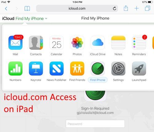 2 icloud com on iPad