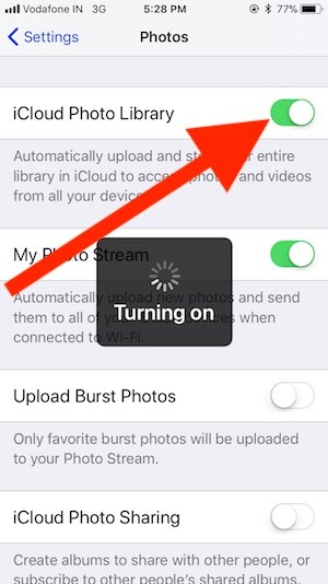 3 Enable iCloud Photo Library on iPhone
