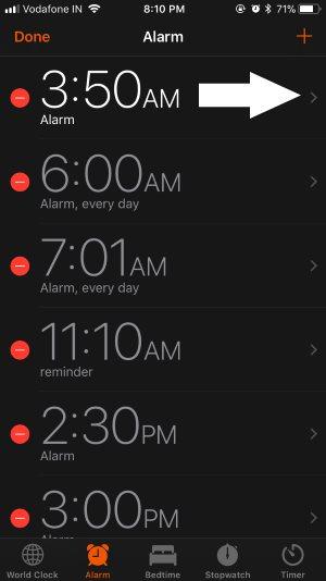 4 Edit Saved Alarm on Clock app