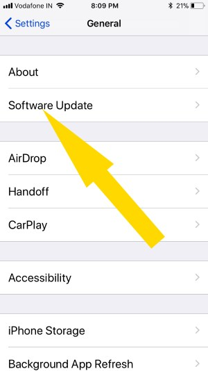 4 check for Software Update in iOS 11