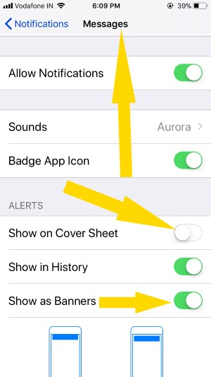 6 Manage Message Alert on iPhone and iPad in iOS 11