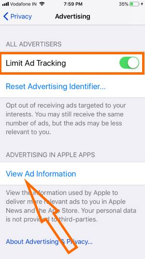 7 Enable Limit Ad Tracking on iPhone Settings