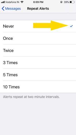 8 Customize Repeat Message alerts on iPhone