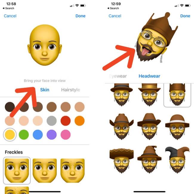 Set Skin Hairstyle Brows Eyes Head Nose Mouth Ears in Custom Memoji Sticker