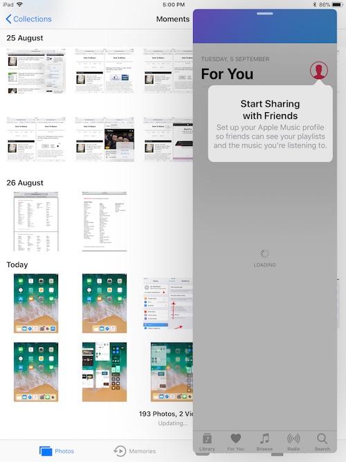Slide Over Multitasking in iOS 11