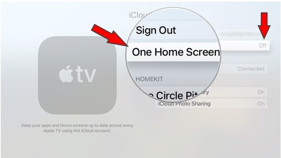 Turn off One Home screen on Apple TV 4k
