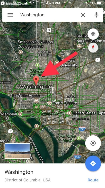 touch and hold on anywhere on the Map to make a red pin on iOS Google Maps iPhone ipad