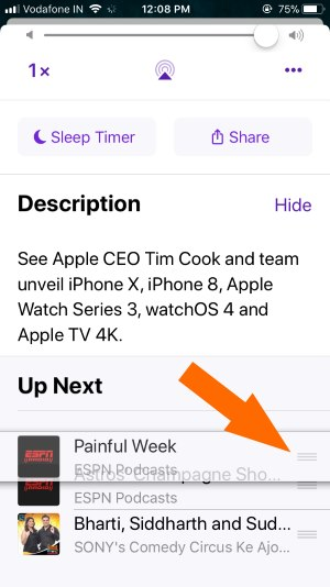 1 Manage Order by drag Podcasts Playlist in iOS 11