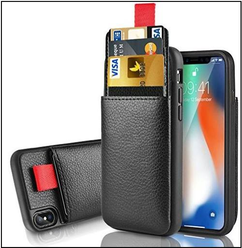 1 Leather iPhone X case with pocket