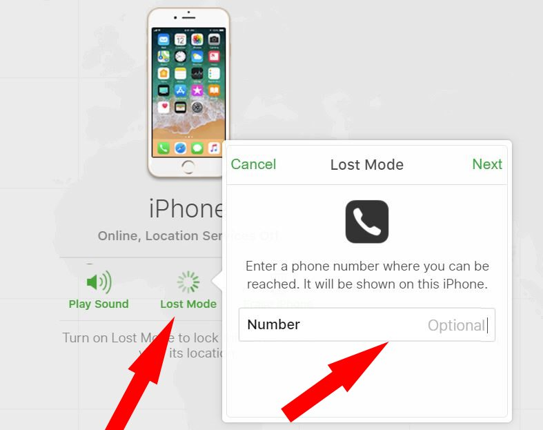 2 Enter number for lost mode screen