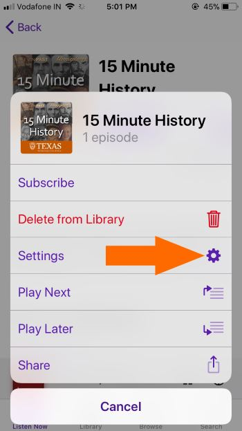 2 Podcasts settings for iPhone in iOS 11