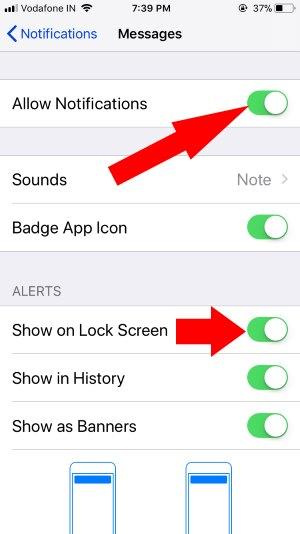 3 Enable Notification alert for iPhone lock screen