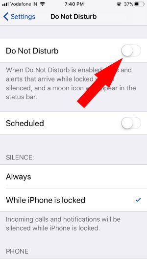 5 Disable Do Not Disturb on iPhone from Settings