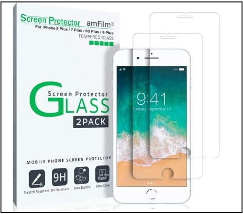 5 amFilm Glass Screen Protector for iPhone 8 Plus