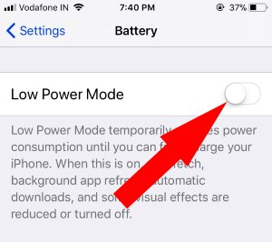 6 Turn off low power mode on iPhone