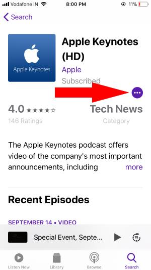 8 Podcast more settings option for play automatically