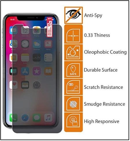 Best Anti Scratch iPhone X Anti-Spy Glass Screen Protector