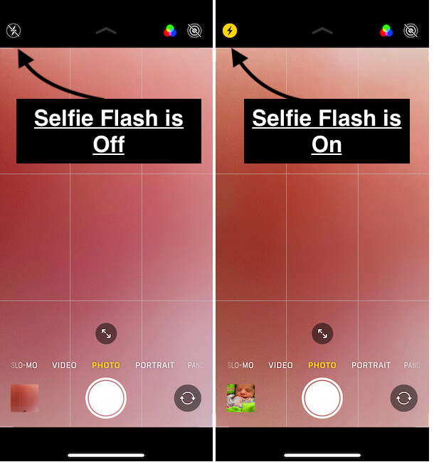 How to turn on and turn off selfie flash on selfie Camera