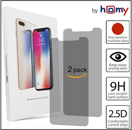 Japanese Tempered Glass Anti Spy iPhone X Privacy Screen Protector
