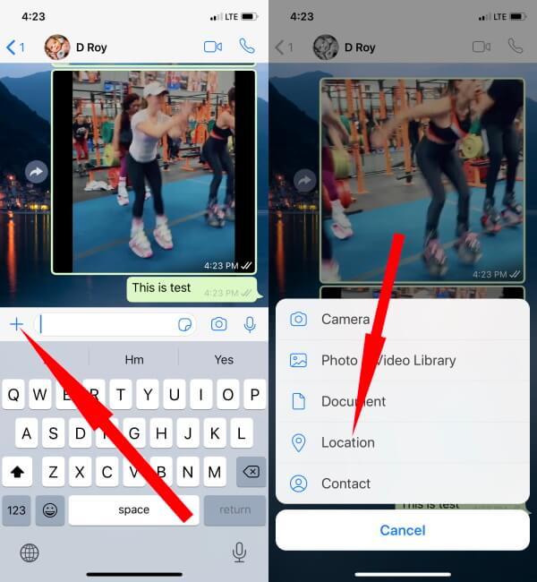Share Live Location on WhatsApp iPhone