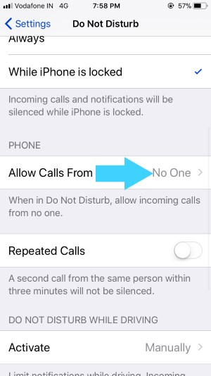 3 Stop call on Do Not Disturb on iPhone