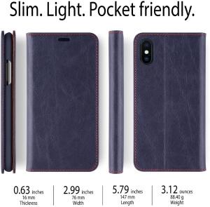 iATO iPhone X Leather Wallet Case Premium Protective