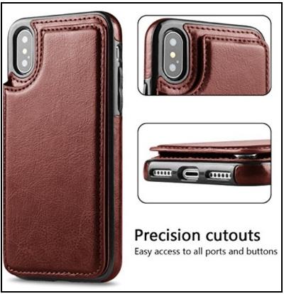 Hoofur Slim Fit Premium Leather iPhone X Wallet Case Card Slots Shockproof