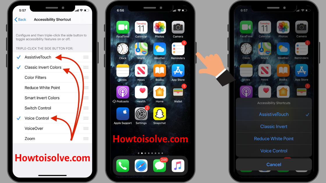 How to Turn on on Accessibility shortcuts on the iPhone using triple click power button