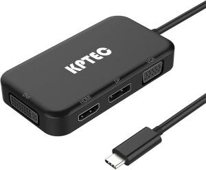 KPTECH Ultimate 4-in-1 USB-C to 4K HDMI, DVI, VGA DisplayPort DP Hub Adapter
