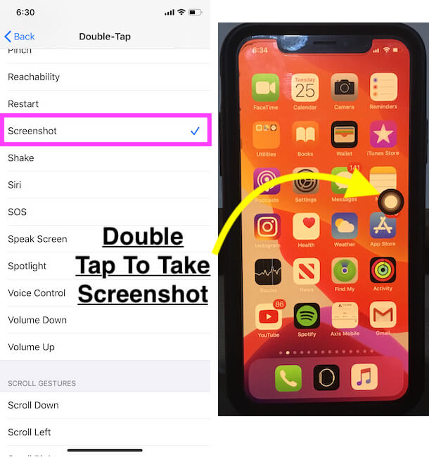 Set Virtual home button for Screenshot on iPhone