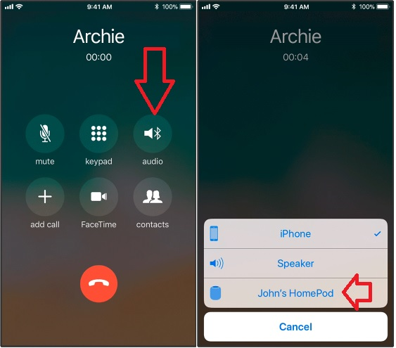 1 Route Audio call to HomePod from iPhone