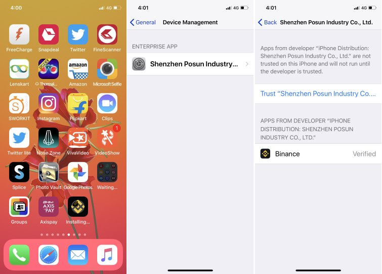 2 Device Management for Third-Party installed app on iphone